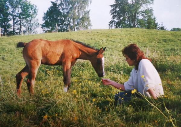 Heléne hemma från USA. Med ett arabföl i hästhagen